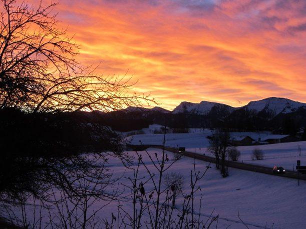 Sonnenaufgang, Schneeschuhwandern Allgäuer Alpen