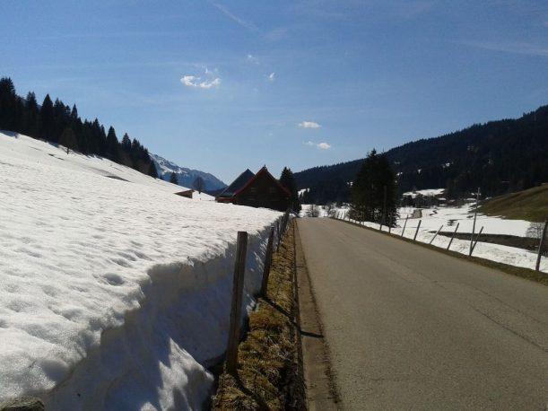Mountainbiken im Frühling mit Blick auf die Alpe Schattwald