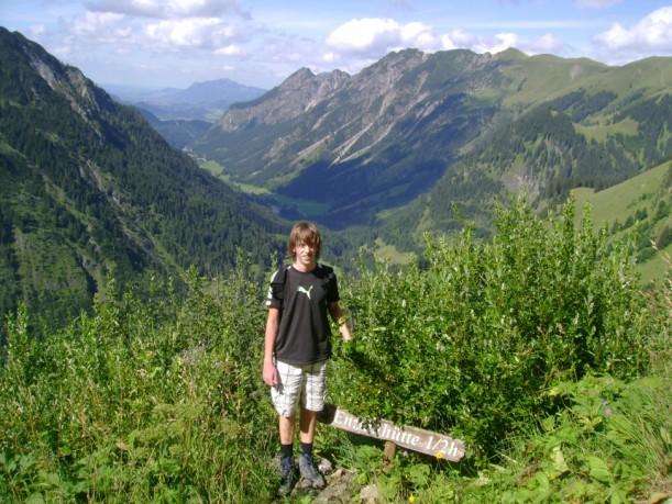 Kurz vor dem Ziel der Wanderung durch die Allgäuer Alpen