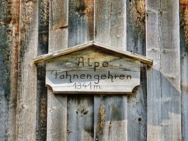 Alpe Fahnengehren - Schild