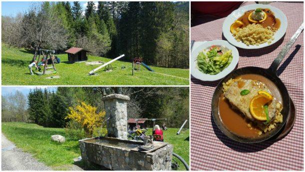 Mittagessen auf Buhl's Alpe während der Wanderung