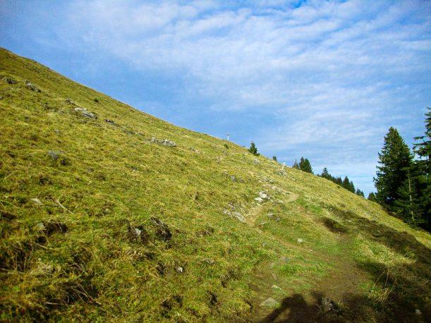 Auf der Suche nach dem Gipfelkreuz des Ornach am Ende des Wanderwegs