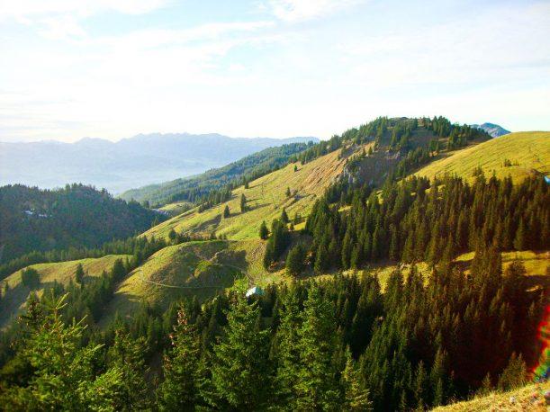 Aussicht auf den 1.649 m hohen Spieser und den Hirschberg (links)