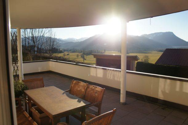 Blick von der Küche in die Allgäuer Alpen