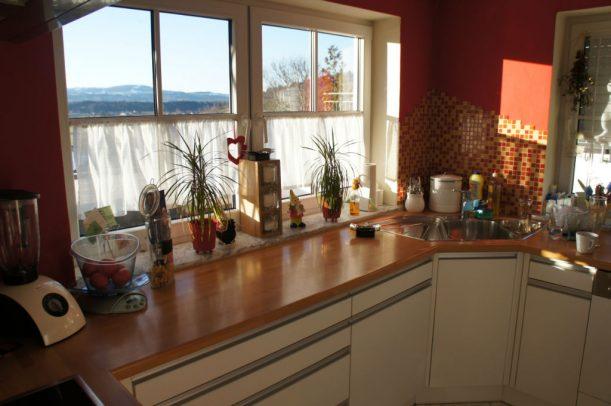 Küche mit Blick in die Allgäuer Alpen