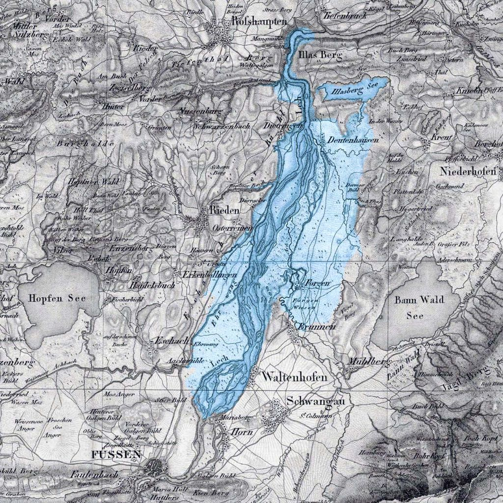 Darstellung der Seefläche auf einer historischen Karte von 1818.