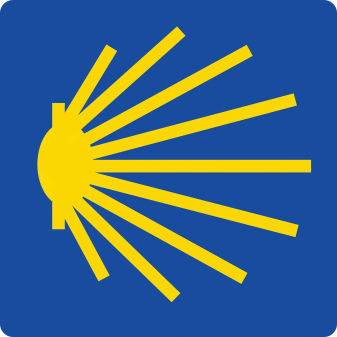 Das berühmte Logo: die Jakobsmuschel weist in die richtige Richtung. (Foto: Jakobspilgerweggemeinschaft Augsburg)
