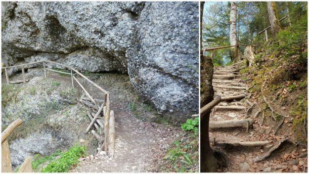 Wanderung vorbei an den mächtigen Felsen und Wurzelstufen des Ostertaltobels