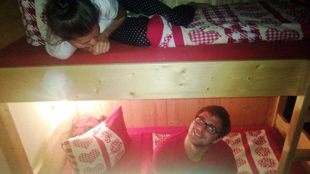 So schläft man im Mehrbettzimmer auf der Enzianhütte.